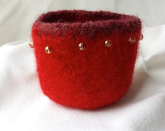 Red Felted Beaded Bowl