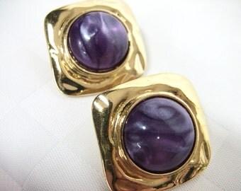 Vintage Avon Earrings Purple Gold Square earrings Purple