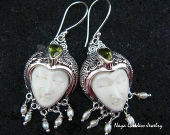 Sterling Silver Pearl & Peridot Naya Goddess Earrings NG - 820