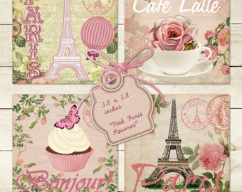 """Paris in Pink""""-3.8x3.8 inch Digital Collage Sheet Printable Shabby Chic Images for Coasters Greeting cards Magnets Gift tags"""