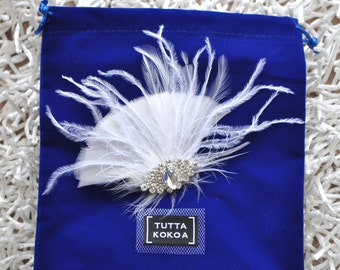 Bridal hair feather and rhinestone clip