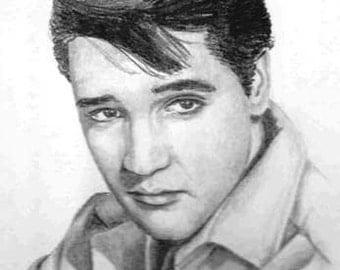 Elvis Presley pencil portrait illustrated by artist Vicki Knoll