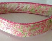 Pink & Green Floral and Polka Dot Dog and Cat Collar