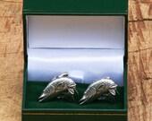 Pike Cufflinks Pewter UK Handmade Coarse Fishing Gift
