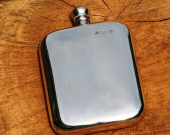 English Pewter Rounded Kidney Hip Flask Personalised Gift