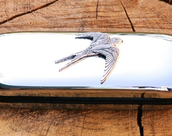 Swallow Metal Pen Case & Ball Point Set Personalised Engraved Gift