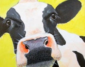 Cow art, farm animal, animal portrait, holstein cow, animal artwork, pet portrait by Paula Prass. Available as a 5x5 or 8x8 fine art print.