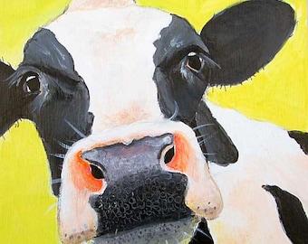 Cow art print, cow painting, cow wall art, cow decor, kitchen art, farm animal, animal portrait, holstein, home decor gift by Paula Prass