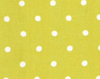 100% premium cotton, lime polka dot quilting cotton fabric by the yard by Paula Prass for Michael Miller. Need more fabric yardage? Just ask