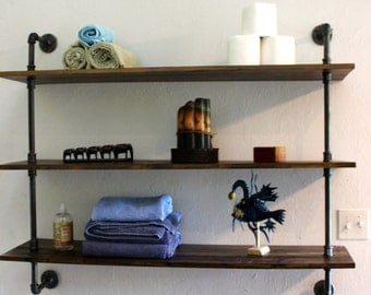Wooden Wall Shelf, Handmade Home Decor, Rustic Industrial Shelving Unit