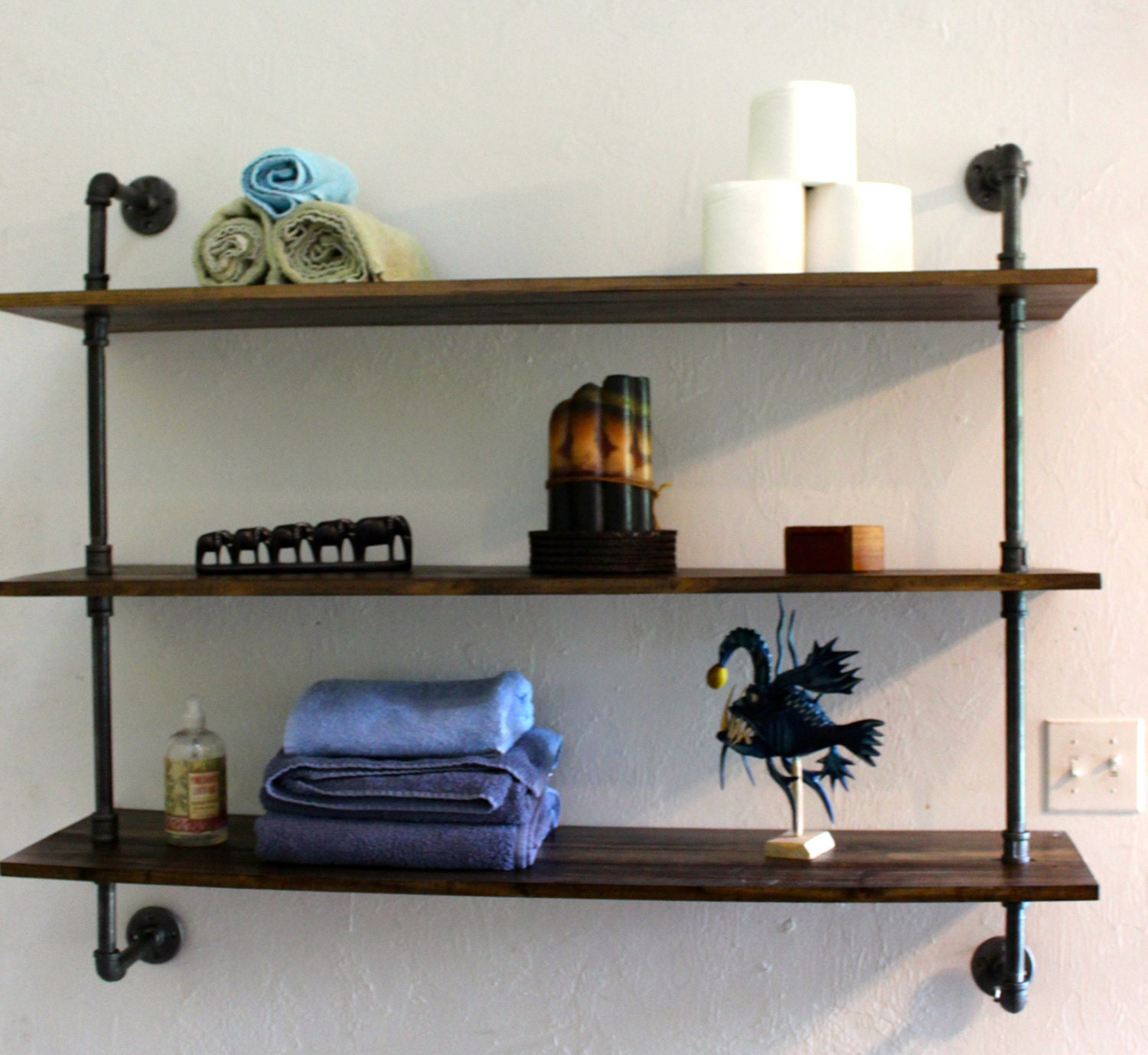 wooden wall shelf handmade home decor rustic industrial. Black Bedroom Furniture Sets. Home Design Ideas