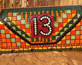 Mosaic Mailbox, Green Orange Yellow and Red