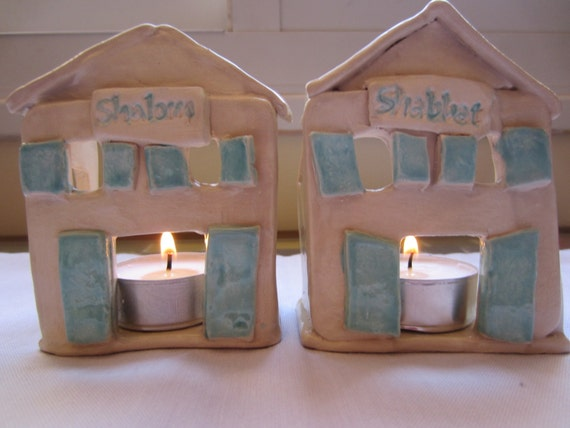 Ceramic Houses With Lights Ceramic Shabbat Shalom Houses