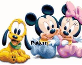 Baby Minnie, Mickey and Pluto. Cross Stitch Pattern. PDF Files.
