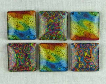 Set of Six Magnets Abstract Fun