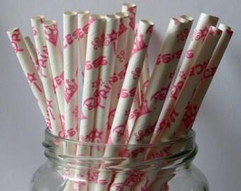 Princess Pink Paper Straws (25 straws Per pack)