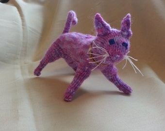 hand knitted purple standing cat