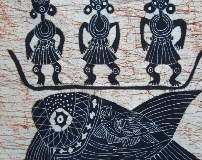 Three Fishermen - Monochrome Batik Tapestry Wall Decorative Painting 33x27