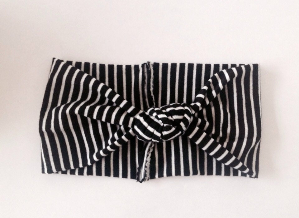 Black And White Top Knot Turban Striped Baby Headwrap Striped
