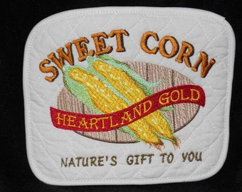 Pot holder or hot pad. Sweet Corn vintage inspired farmers market sign. So beautiful you will want to display them!