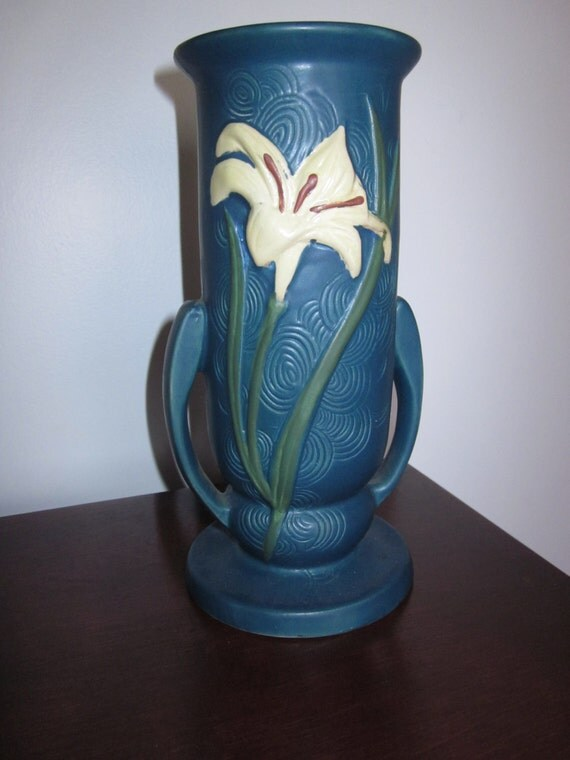 Blue Roseville Zephyr Lily Vase Reproduction