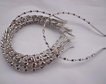 plain silver colored metal rotating headband - 20pcs 4mm