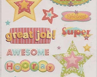 Studio112 ACHIEVEMENT WORDS Embossed Stickers