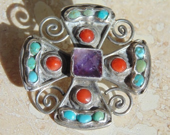 MATL - Signed Iconic Mexican Sterling Silver Natural Amethyst, Turquoise and Coral Cross Brooch