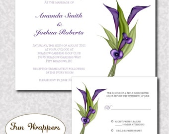 Calla Lily Wedding Invitation and RSVP Card Available in 3 Colors - Printable Digital or Printed Wedding Invitation