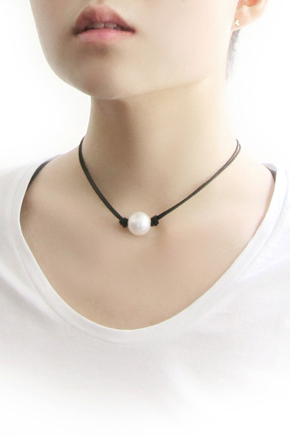 Large White Pearl Choker Necklace Pearl Black String By
