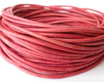 5 meters round leather cord in distressed cyclamen pink, 2mm leather cord for jewellery making, craft supplies UK