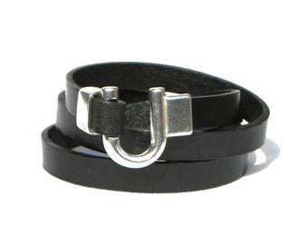 Leather Bracelet Wrap Black