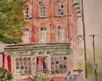 """watercolor painting,street scene painting,original painting,""""FRENCHTOWN"""", Old brick building ,PeterKundra,Scenic town Tourist town"""