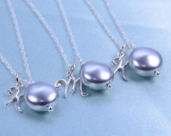 Bridesmaid jewelry set, Bridesmaid pearl necklace set - set of 3, set of 4, set of 5, set of 6 or more