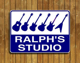 Guitar sign, personalized guitar sign, Stratocaster, Les Paul and other guitars