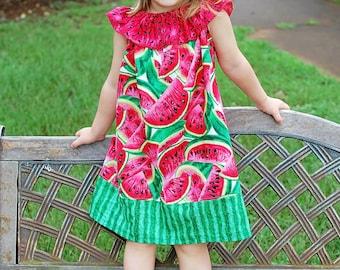 Watermelon Dress, Watermelon Peasant Dress