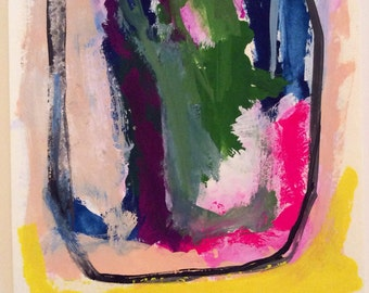 Small abstract gouache/watercolor painting