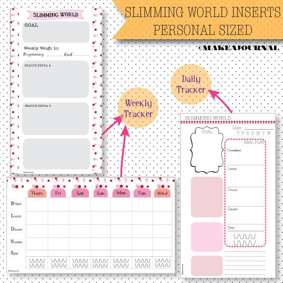 Items Similar To Slimming World Inserts For Personal Sized Kate Spade Filofax Weight Loss