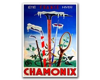 Retro Travel Art Chamonix France Sports Poster Home Decor Vintage Print (H252)