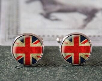 cufflinks - UK Flag Cuff Links,Vintage, perfect gift, gift idea, handmademen cuff link,wedding cufflinks,vintage, vintage style