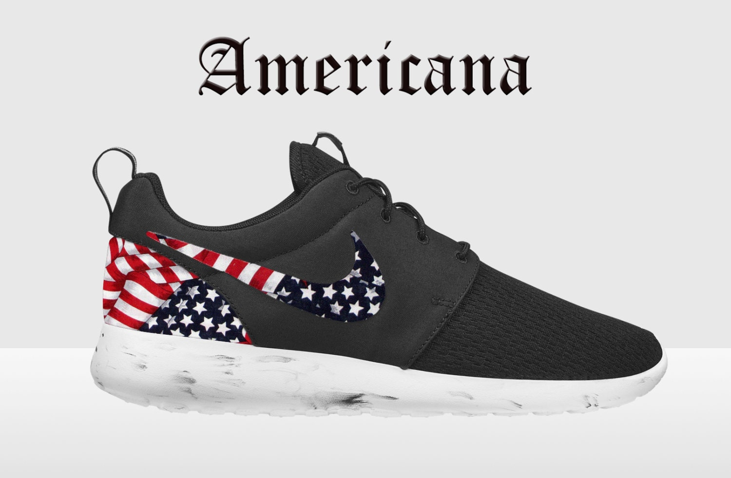 848f311fbd60 Nike Roshe Run Red Marble American Flag Pride Print by