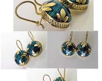 Earrings, silver, gilding, Vitreous enamel #73257