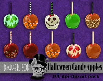 Halloween Caramel and Candy Apples Digital Clip Art Elements for Scrap-booking and Paper Craft