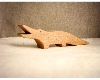 Waldorf inspired wooden animals: the crocodile