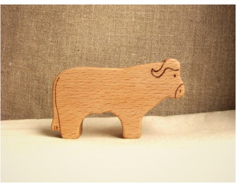 Waldorf inspired wooden animals: Buffalo