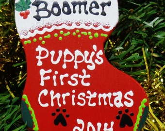 U Choose Name & Date Personalized PUPPY'S FIRST Christmas ORNAMENT Name Dog Groomer