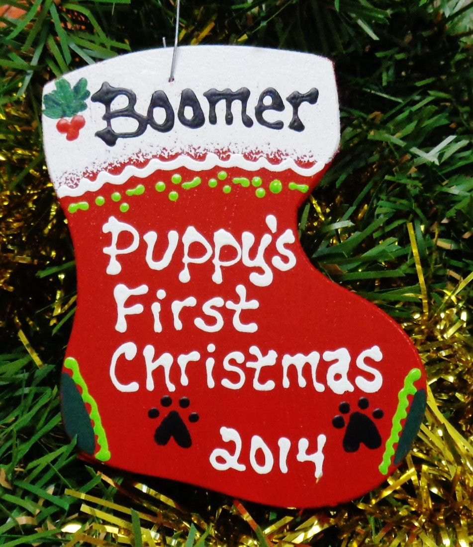 U Choose Name & Date Personalized PUPPY'S FIRST Christmas