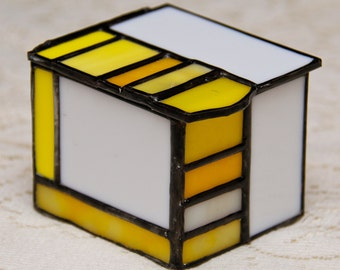 """Yellow and White Stained Glass """"Halfbox"""""""