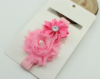 Pearl Shabby Flowers Headband,Flower Girl Headband, Baby Headband,Headband Supplies