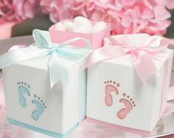 20x Baby Shower Favour Boxes • Laser Cut Baby Feet Footprints • Christening Bomboniere • Chocolate Box • Thank You Favor